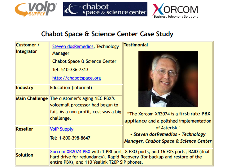 VoIP Supply and Xorcom Chabot Space and Science Center Case Study
