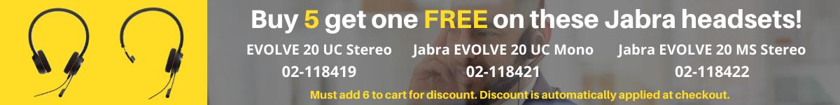 Buy 5 get 1 free Jabra Evolve 20