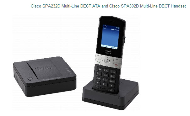 Cisco SPA232D ATA shown with SPA302D DECT Handset