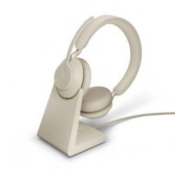 Jabra Evolve2 65 USB-A Stereo UC Headset w/ Deskstand Beige 26599-989-988