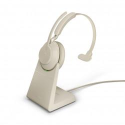 Jabra Evolve2 65 USB-A Mono UC Headset w/ Deskstand Beige