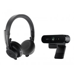 Logitech Pro BRIO Webcam + Zone Wireless UC Headset Personal Collaboration Kit