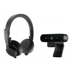 Logitech Pro BRIO Webcam + Zone Wireless MS Teams Headset Personal Collaboration Kit