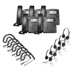 Polycom VVX 300 5-Pack Bundle with Wired Headsets