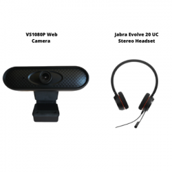 VS1080P Web Camera and Jabra Evolve 20 UC Stereo Headset Conferencing Bundle