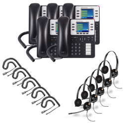 Grandstream GXP2130 5-Pack Bundle with Wired Headsets