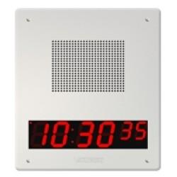 Valcom VIP-429A-D-IC - IP Talkback Faceplate Speaker Unit w/Digital Clock, White