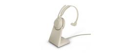 Jabra Evolve2 65 USB-C Mono MS Teams Headset w/stand Beige