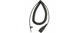 Jabra Quick Disconnect (QD) to Modular (RJ) Coiled Bottom Cord
