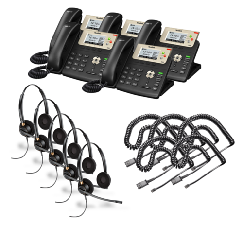 Yealink SIP-T23G 5-Pack Bundle with Wired Headsets