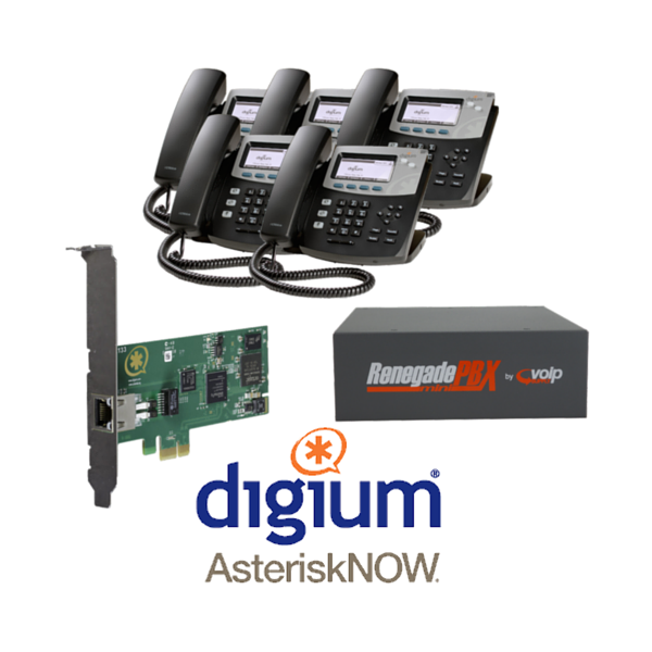 RenegadePBX mini single T1/E1 Bundle with Digum D40 phones