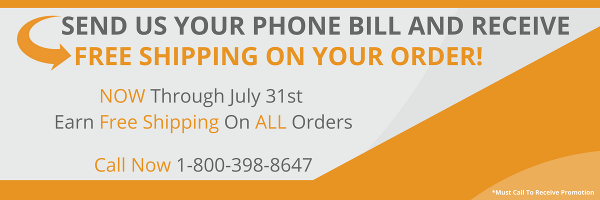 Send us your phone bill and get free shipping on any orders!