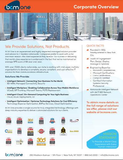 BCM One Corporate Overview